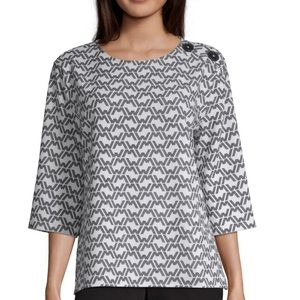 Worthington Button Shoulder Elbow Sleeve Top